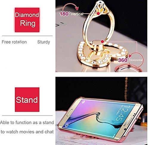 Cover iPhone 6 Plus Silicone TPU Surakey Custodia per iPhone 6 Plus Apple, [Rotazione Grip Ring Kickstand] Elegante Fiori Rossa Morbida iPhone 6 Plus Cover Bling Glitter con Supporto Dellanello Trasp Oro Rosa Bling