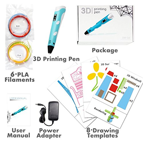 3D Stift LCD Display, 3D Drucker Stift mit 1,75 mm × 3m PLA Filament und 8 Papier Modelle, 3D Stift Set DIY Geschenk für Kinder und Erwachsene - 2