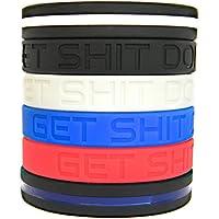 Solza Pulseras de Silicona de motivación establecidos 4X Pulseras de Silicona Get Shit Done + Thin Blue Line Pulsera + Thin White Line Bracelet | Pulseras de Colores Unisex, 20.32cm