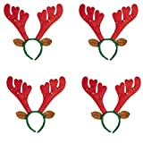 4 x Haarreif Set * RENTIERGEWEIH mit GLOECKCHEN und Ohren * als Verkleidung für Weihnachten und Mottoparty // Tolle Verkleidung für Eine lustige Motto-Party // Haarreif Accessoire Tiara Reif Hirsch