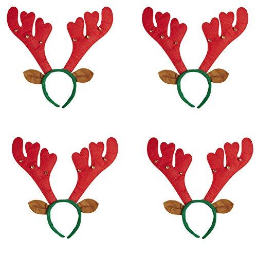Kostüm Kind Elch - 4 x Haarreif Set * RENTIERGEWEIH mit GLOECKCHEN und Ohren * als Verkleidung für Weihnachten und Mottoparty // Tolle Verkleidung für Eine lustige Motto-Party // Haarreif Accessoire Tiara Reif Hirsch