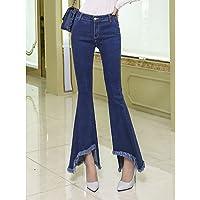 TT&NIUZAIKU Mujer Vintage Tiro Alto Vaqueros Pantalones - Un Color, Blue, l