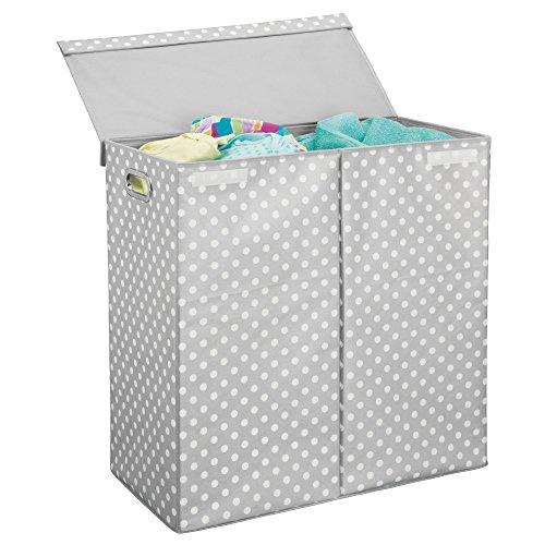 Mdesign cesto portabiancheria con coperchio – cesto panni sporchi pieghevole – porta biancheria a due scomparti con manici – realizzato in plastica – grigio chiaro/bianco