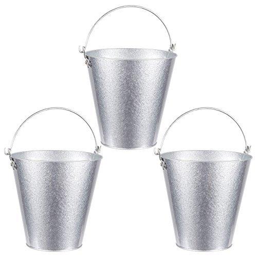 Set mit 3 kleinen runden verzinkten Eimern - Eimer mit Griff, Eisen Biereimer für Partys, Metalleimer, Silberfarben - 7,2 x 11,4 x 18,2 cm -