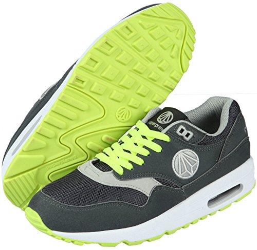 Unisex Fashion 1317 Paperplanes-Coussin d'Air Essential Running Baskets Gris - Dark Gray Green