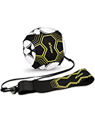 Kuyou Football Kick Trainer Soccer Training Aid for Kids and Adults Hands Free Solo Practice With Belt Elastic Rope Universal Fits 3 4 5 Footballs