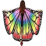 MRULIC Erwachsene Schmetterlingsflügel Damen Kostümzubehör Weihnachten Trenchcoat Im Freien Drachen Fliegen Mantel Schal Schals Damen Nymphe Pixie Poncho Karneval heißen Jacken(C-Mehrfarbig,168*135CM)