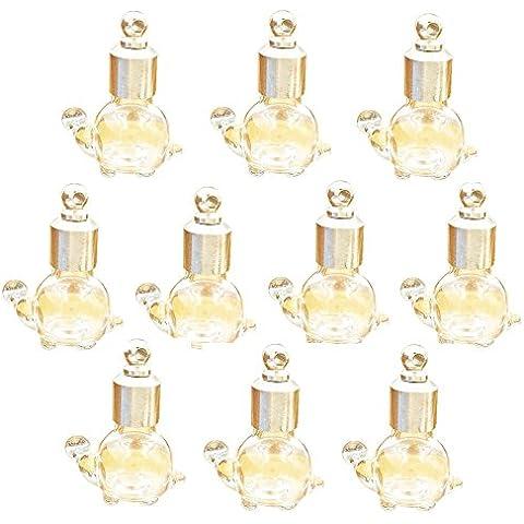 10pezzi Tappo a Vite Tartaruga Flaconcino di vetro collana ciondolo Mini Wishing Bottle Charms..., clear turtle, 22.5x17x11mm