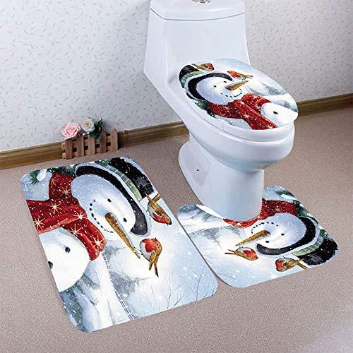 Mitlfuny Weihnachten Home TüR Dekoration 2019,3 stück Weihnachten Bad Rutschfeste sockel Teppich + Deckel toilettenabdeckung + badematte ()