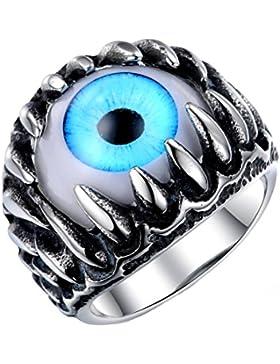 PAURO Herren Edelstahl Dragon Claw Opal Eyeball Ringe, Gothic Biker Einzigartige Blau/Grün Katzenauge