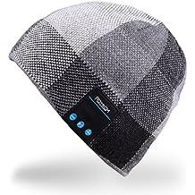 Rotibox Hombre Mujer Bluetooth Audio Gorra Cap Gorra con Altavoz Estéreo Auriculares, micrófono, manos libres y batería recargable para teléfonos celulares, iPhone, iPad, Tablets, Smartphones Android - Negro