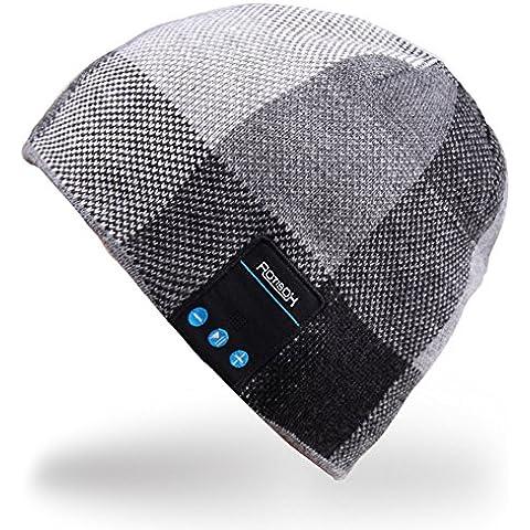 Rotibox Hombre Mujer Bluetooth Audio Gorra Cap Gorra con Altavoz Estéreo Auriculares, micrófono, manos libres y batería recargable para teléfonos celulares, iPhone, iPad, Tablets, Smartphones Android -