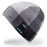 Rotibox Männer Frauen Bluetooth Audiomusik-Beanie mit Stereo-Lautsprecher Kopfhörer, Mikrofon, die Hände frei und Akku für Handys, iPhone, iPad, Tablets, Android Smartphones – Schwarz