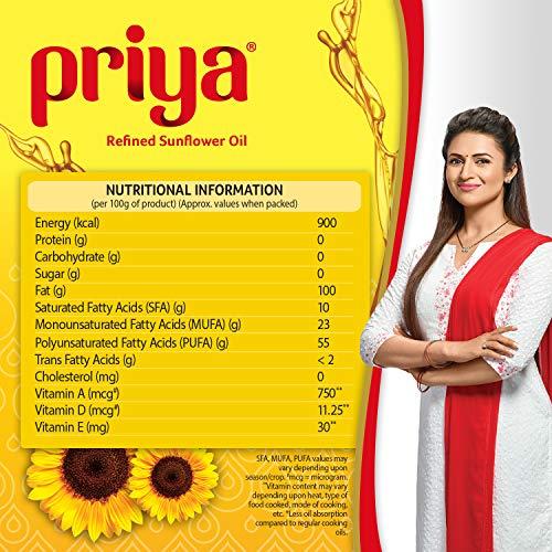 Priya Refined Sunflower Oil Pouch, 1L