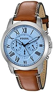 Fossil Grant Chronograph Light Brown Leather Silver Dial Men's Watch - FS5184