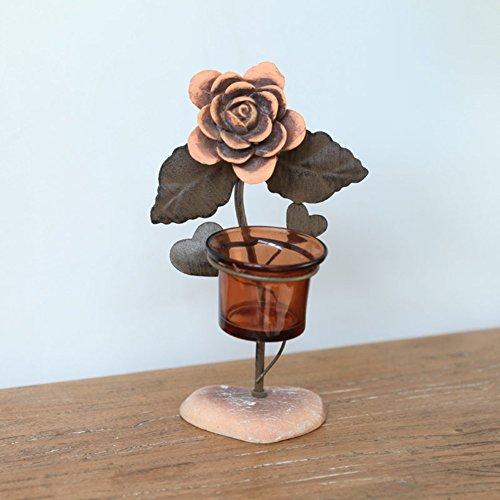 Candeliere in ferro battuto di cena a lume di candela/Ornamenti europeo romantico Rose/ vetro portacandele Cup/ Creative Lanterna-A
