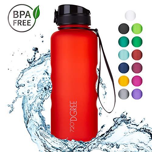 720°DGREE Trinkflasche uberBottle - 1,5 Liter, 1500ml, Rot, Orange | Neuartige Tritan Wasser-Flasche | Water Bottle BPA Frei | Ideale Sportflasche für Kinder, Fitness, Fahrrad, Sport, Fussball (Kind Schwer Hats)
