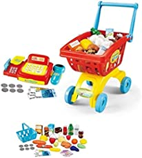 Toys Bhoomi 2 in 1 Supermarket Cashier & Shopping Trolley Role Play Set with Light & Sound - 45 Pieces