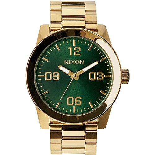 nixon-corporal-ss-gold-green-sunray-a3461919-00-orologio-da-polso-da-uomo-cinturino-in-acciaio-inox-