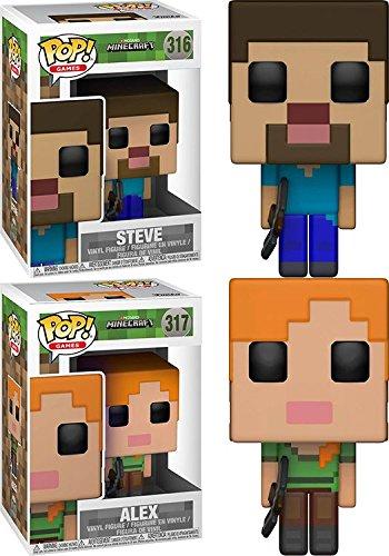 Funko POP! Minecraft: Steve + Alex – Stylized Video Game Vinyl Figure Set NEW