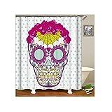 Gnzoe Polyester Badewanne Vorhang Blumen Schödel Muster Design Duschvorhang Mehrfarbig für Badezimmer/Badewanne 90x180CM