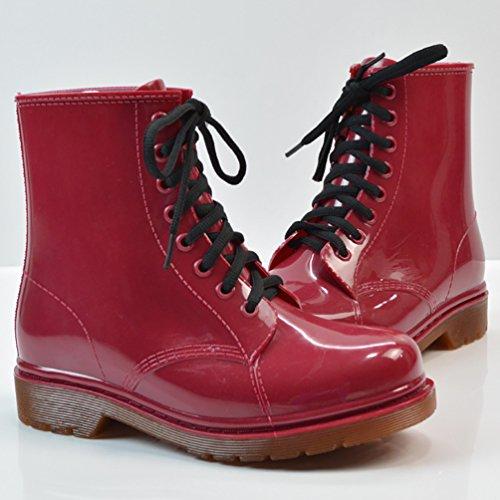 LvRao Damen Wasserdichte Schnee Regen Absatz Schuhe Garten Stiefel Knöchel Boots Kurze Regenstiefel mit Schnürsenkel Rot