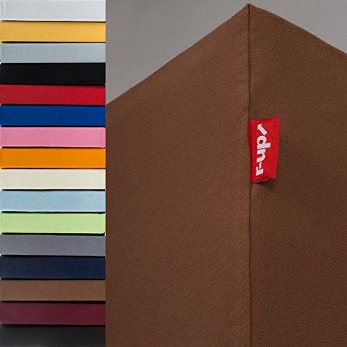 r-up Passt Spannbettlaken 90x200-100x200 bis 35cm Höhe Viele Farben 100{71c6cd47898a7fa642c3a70e083c0206946e101088549ca4e31f1ac9ffd2b1ea} Baumwolle 130g/m² Öko-Tex stressfrei Auch für Hohe Matratzen (Braun)