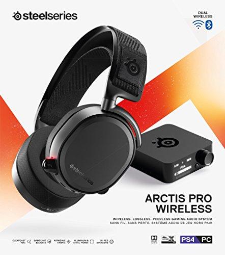 SteelSeries Arctis Pro Wireless - Cuffie da Gioco - Driver dello Speaker ad Alta Risoluzione - Wireless Doppio (2,4 H e Bluetooth)