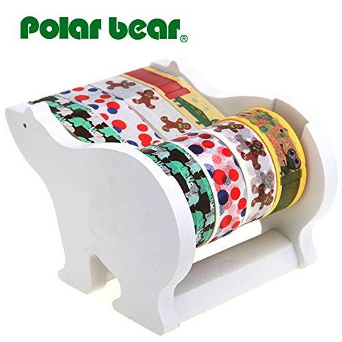 Polar Bear Multi Rolle Tischabroller, inkl. 4 Rollen aus Washi Tape (je 15 mm x 9,14 m), 2,5 cm Core