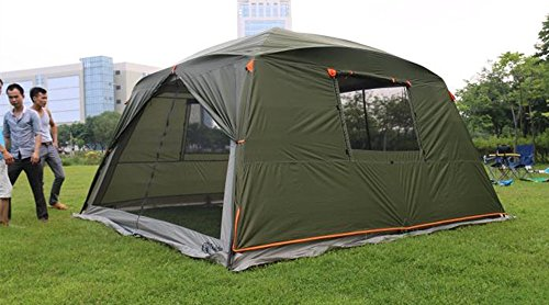 Outdoor Sports 5-8 People Large Beach Canopy UPF 50+ Sun Shade Event Shelter Gazebo Screenhouse Waterproof Day Tent Awning for Camping Fishing Hiking (Green-canopy with rainfly)