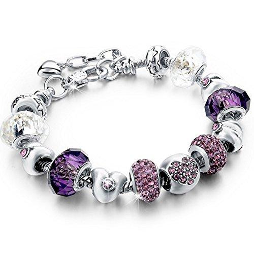 Bracciale donna e ragazza con bead placcato argento con zirconi - componibile, misura regolabile, compatibile pandora - massima brillantezza, alta qualità - purple love con beads