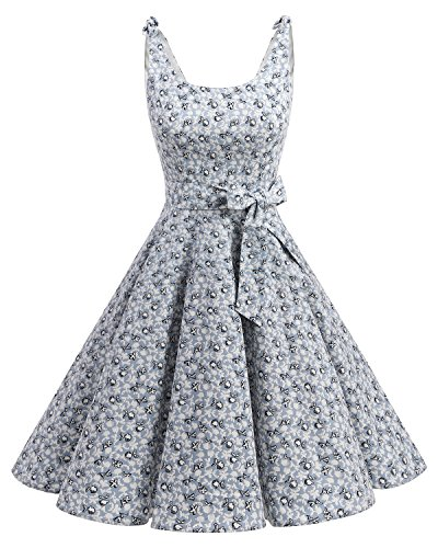 Bbonlinedress 1950er Vintage Polka Dots Pinup Retro Rockabilly Kleid Cocktailkleider Little Flowers M (Polka Rock Baumwolle Dots)