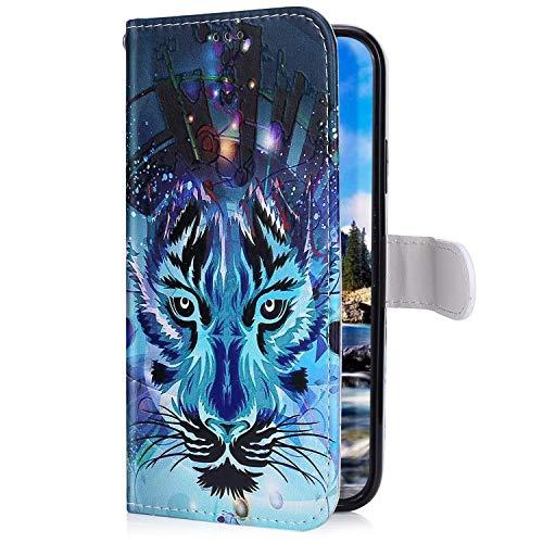 Uposao Kompatibel mit Samsung Galaxy M30 Hülle mit Bunt Muster Motiv Brieftasche Handyhülle Leder Schutzhülle Klappbar Wallet Tasche Flip Case Ständer Ledertasche Magnet,Wolf
