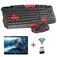 UrChoiceLtdŽ CityForm HK8100 Wireless Multimedia Gaming Keyboard + 2.4GHz 4 Buttons Mouse Set Black&Red