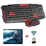 UrChoiceLtd® CityForm HK8100 Kabellos Multimedia Spiel Tastatur + 2,4 GHz 4 Tasten Maus Set Schwarz & Rot