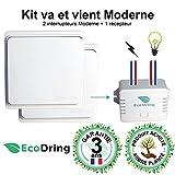 EcoDring ✮ Kit va et vient Moderne : 2 Interrupteurs sans fil sans pile + 1 récepteur 1000W ✮ garantie 3 ans ✮ blanc RX2TX