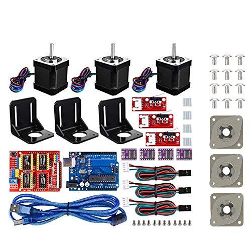 3D Printer CNC Kit für Arduino,CNC Shield Erweiterungskarte+UNO R3 Board+4pcs DRV8825 Schrittmotortreiber+Aluminiumkühler+Schrittmotor für Nema 17 mit 3 Stoßdämpfer Set für Kuman UNO R3/Arduino