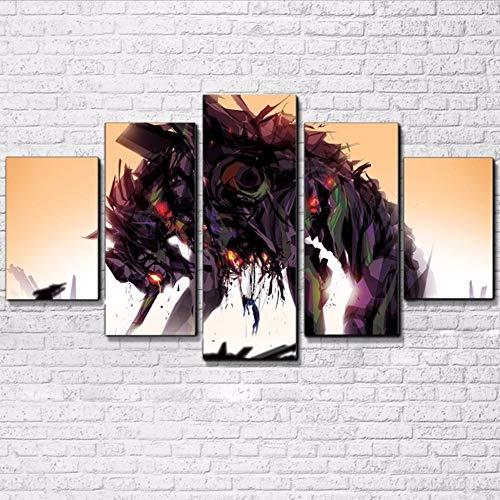 Wuwenw Leinwand Malerei Modulare Wandkunst 5 Stücke Animation Zeichentrickfiguren Bilder Rahmen Hd Drucke Für Wohnzimmer Dekor, 8 X 14/18/22 Zoll, Mit Rahmen
