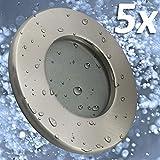 5x Badeinbaustrahler | Einbaustrahler Feuchtraum | Badezimmer | Bad | Dusche | Suana | inkl. GU10 Fassung | Rostfrei | Einbauspot | Deckeneinbaustrahler | rund | Edelstahloptik