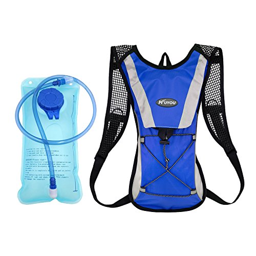 Professional Hydration Pack ,KUYOU Rucksack Backpack with 2L(70 oz) Water Bladder Tube System Perfect For Race Hydration Vest Cycling Camping Hiking Climbing Pouch Outdoors Activities (Blue+Water Pouch)