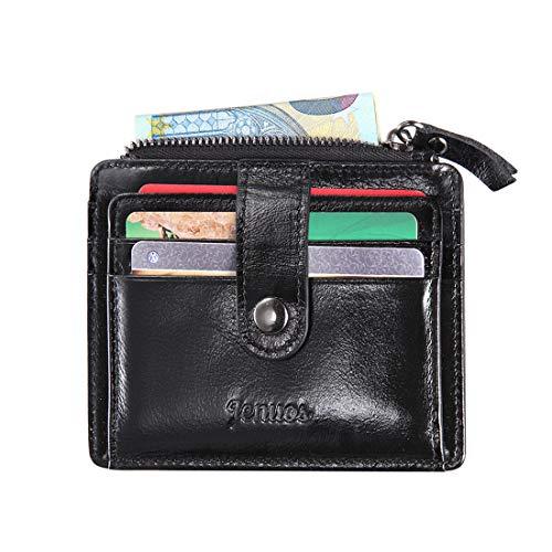 Herren Geldbörse, Jenuos RFID Blocking Slim Echt Lederhülle Portemonnaie Querformat Brieftasche für Männer, Mini Münzen Geldbeutel, Credit Card Holder, Geschenk-Box (QB-LK-BK) -