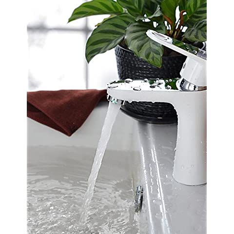 Septvl Uso generale Shengbaier moderno Spray bianco Finitura cromata foro BrasOne unica Impugnatura rubinetto di lavello (corto) Il lavandino del bagno rubinetteria