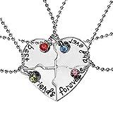 4-teilige Halskette mit Anhänger, geteiltes Herz, Freundschaftspuzzle, 'Best friends forever and ever'