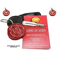 3 Schlüsselanhänger Smiley ROT aus Ton handmade