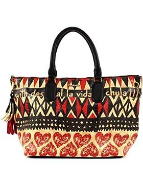 Desigual Bols Valencia Afrika Love Damenhandtasche, Henkeltasche, Umhängetasche negro (mehrfarbig) 61X50E0-2000