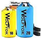 Wolfyok 2 Stück 20L / 10L Wasserdichter PVC Stausack, Trockentasche mit Einstellbarer Schulterriemen Nylon Beutel für Kajak, Motorbootfahren, Campen, Backpacking, Badewanne, Paddeln