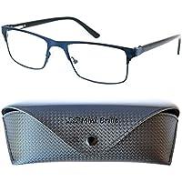 03c68ce556 Gafas de Lectura con Cristales Rectangulares   Montura de Acero Inoxidable  (Azul)   Funda