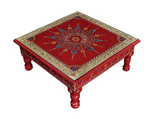 Lalhaveli Décoratif Peint escabeau Puff Petite Table en Bois 33 x 33 x 14 cm
