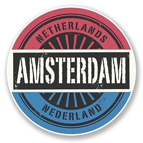 Preisvergleich Produktbild 2x Amsterdam Niederlande Vinyl Aufkleber Aufkleber Laptop Reise Gepäck Auto Ipad Schild Fun # 6724 - 15cm/150mm Wide