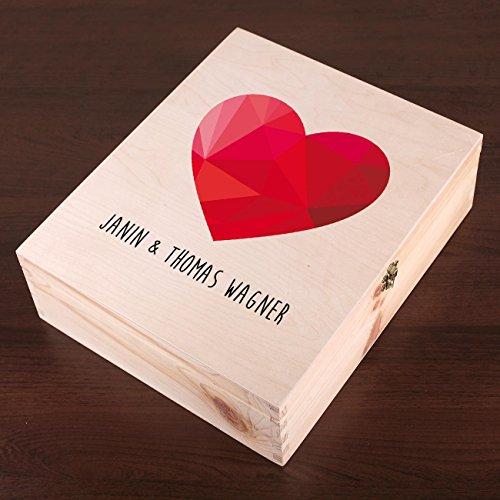 Cera & Toys® Weinverpackung zur Hochzeit – Polygonales Herz – Holzkiste mit persönlich bedruckten Deckel